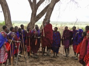 Masai warriors greeting us with their traditional jumping dance