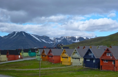 The brightly painted houses of Spitsbergen
